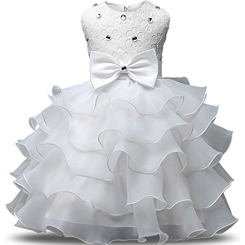 NNJXD Girl Dress Kids Ruffles Lace Party Wedding Dresses Size (80) 7-12 Months White