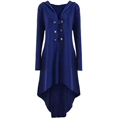 bea3addfff6 MILIMIEYIK Steampunk Clothing for Women Casual Button Up Hooded Trench Coat  Jacket Blazer Tops Steam Punk