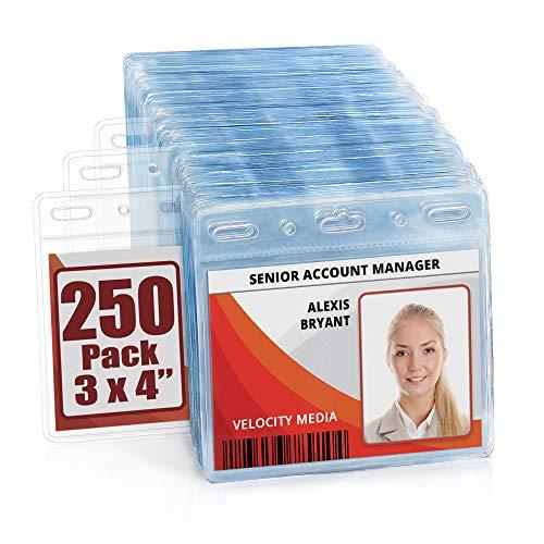 MIFFLIN Plastic Horizontal Card Holder (3x4 Inch, Clear, Bulk 250 Pack) Quick Load No Zipper Name ID Badge