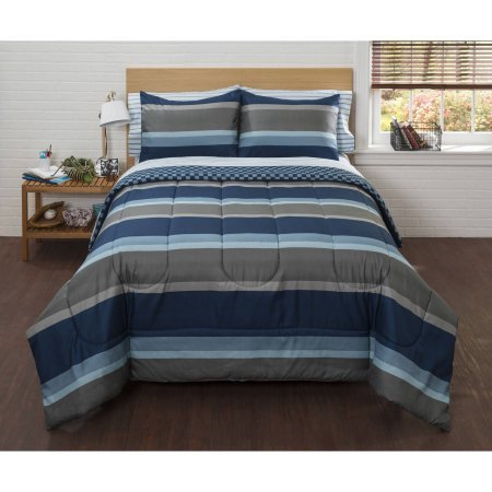 Crawford Daybed - American Original Navy Liam Stripe Bed in a Bag Bedding Comforter Set (Queen)