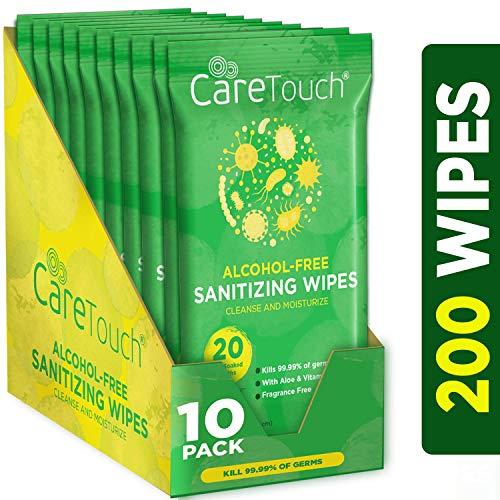 Care Touch Alcohol Free Hand Sanitizer Wipes - 10 Travel Packs of 20 Count Each - Antibacterial Moisturizing Sanitizing Wipes with Vitamin E Aloe for Baby to Adult 200 Wipes Total ()