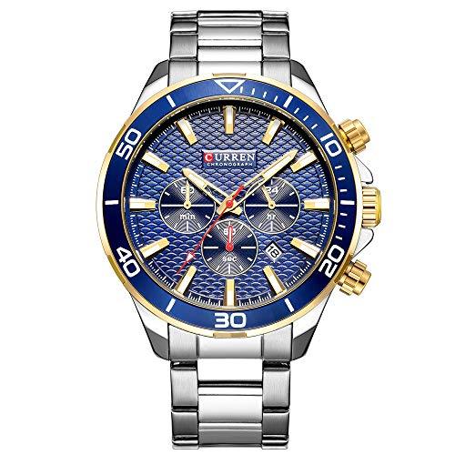 Curren Watches Men's Sports Waterproof Stainless Steel Date 3 Dials Multifunction Wrist Watch