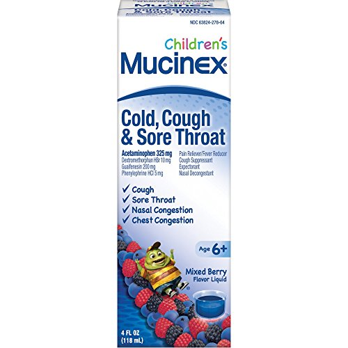 Sore Throat Allergies Cold (Mucinex Children's Cold, Cough, & Sore Throat  Liquid, Mixed Berry, 4oz)