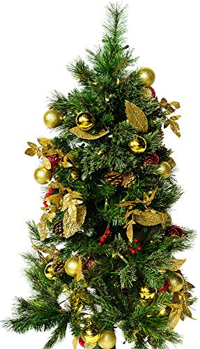 Mr. Light 4 Ft. Pre-Lit, Decorated Tree with 100 Warm White LED's, 61 Gold & Red Balls and Gold Leaves, 213 Tips, Green Metal Stand, Indoor/Outdoor Battery Box + 6hr/ 24hr Built-in Electronic Timer.