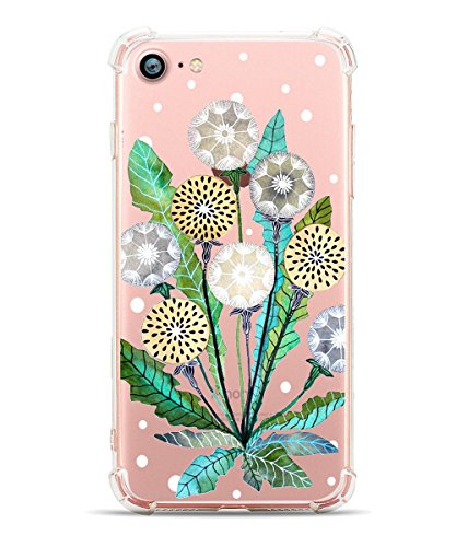iPhone 7 Case iPhone 8 Clear Case Hepix Floral iPhone Case with Dandelion Flowers Design Back Case Cover with TPU Bumper [Drop Protection] for iPhone 7/ iPhone 8