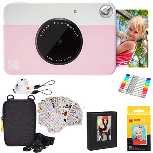 - Kodak Printomatic Instant Camera (Pink) Gift Bundle + Zink Paper (20 Sheets) + Deluxe Case + 7 Fun Sticker Sets + Twin Tip Markers + Photo Album + Hanging Frames + Comfortable Neck Strap