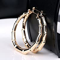 Fashion Punk Old School Gold Tone Bamboo Big Hoop Hiphop Large Circle Earrings