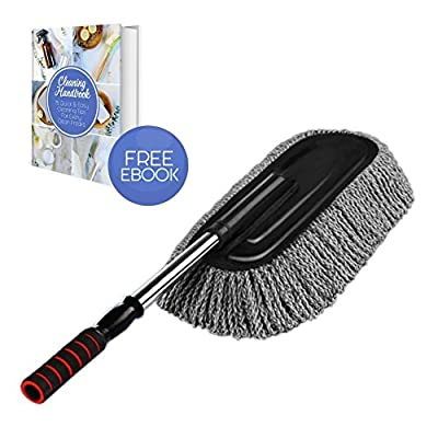 Dusterior   Finest Multipurpose Microfiber Car Duster, Stainless Steel Retractable Handle with Comfy Grip, for Ultimate Trapping Dust and Pollen, 15.7in