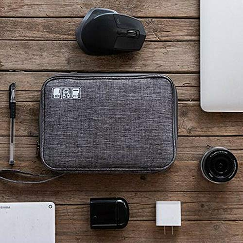 House of Quirk Polyester Electronic Accessories Pouch (Grey_NEW_LINEN_GADGET_ORG_GREY-_-)