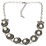 Silver Tone Faux Pearl Floral Collar Necklace