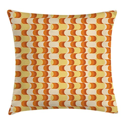 Retro Throw Pillow Cushion Cover by Ambesonne, Wavy Pattern Half Moon Shapes Vintage Art Graphic Design in Different Tones, Decorative Square Accent Pillow Case, 36 X 36 Inches, Orange Yellow - Cut In Moon Half