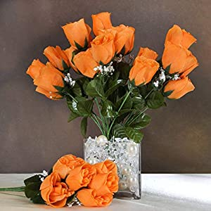 Efavormart 84 Artificial Buds Roses for DIY Wedding Bouquets Centerpieces Arrangements Party Home Decoration Supply - Orange 39