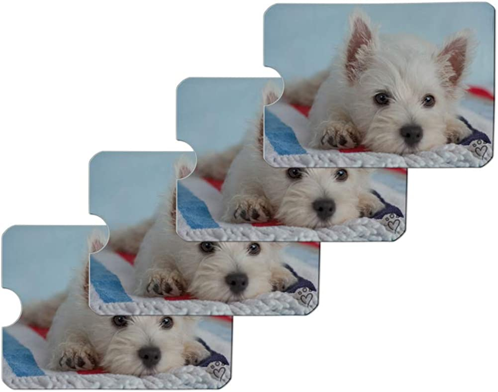 Bichon Frise Dog Breed Credit Card RFID Blocker Holder Protector Wallet Purse Sleeves Set of 4