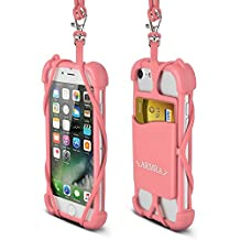 2 in 1 Cell Phone Lanyard Strap Case, Universal Smartphone Neck Laniard Shockproof Cover with ID Card Holder Necklace Tether for iPhone X 8 7 6 6S Plus 5 SE iPod Touch Samsung Galaxy S8 S7 S6 Edge LG (Pink)