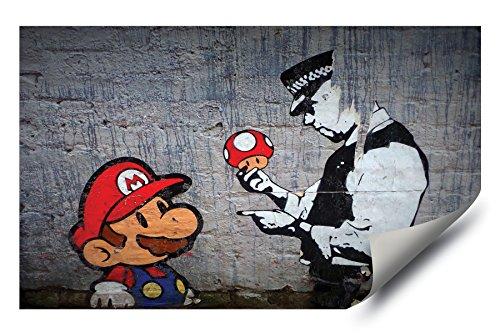 Mario Brothers Mushrooms (Banksy Street Graffiti Super Mario Brothers Mushroom HD Vinyl Wall Art Sticker)