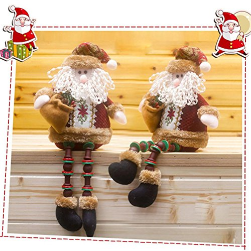 Elaco Christmas Little Elves Decorations Santa Claus Sitting Porcelain Snowman Christmas Ornamen (A)