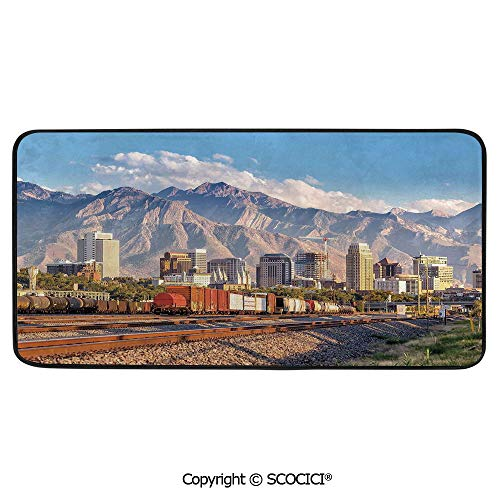 Rectangle Rugs for Bedside Fall Safety, Picnic, Art Project, Play Time, Crafts, Large Protective Mat, Thick Carpet,Landscape,Downtown Salt Lake City Skyline in Utah USA Railroads,39