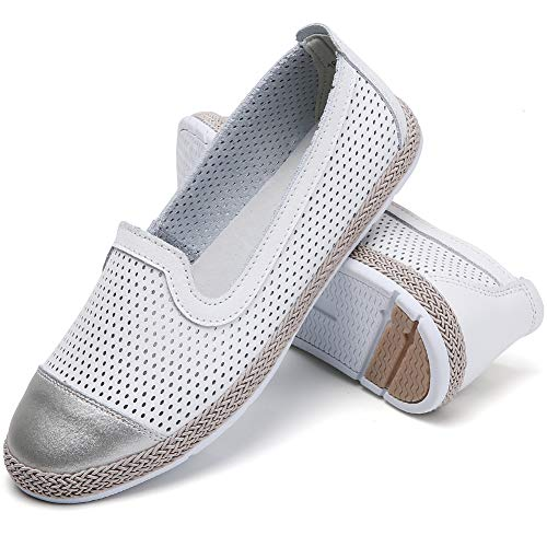 Gecatiso Women's Ballet Flats Slip On Soft Leather Cut Out Loafers Shoes (7(M) US=38EU=243MM, White) ()