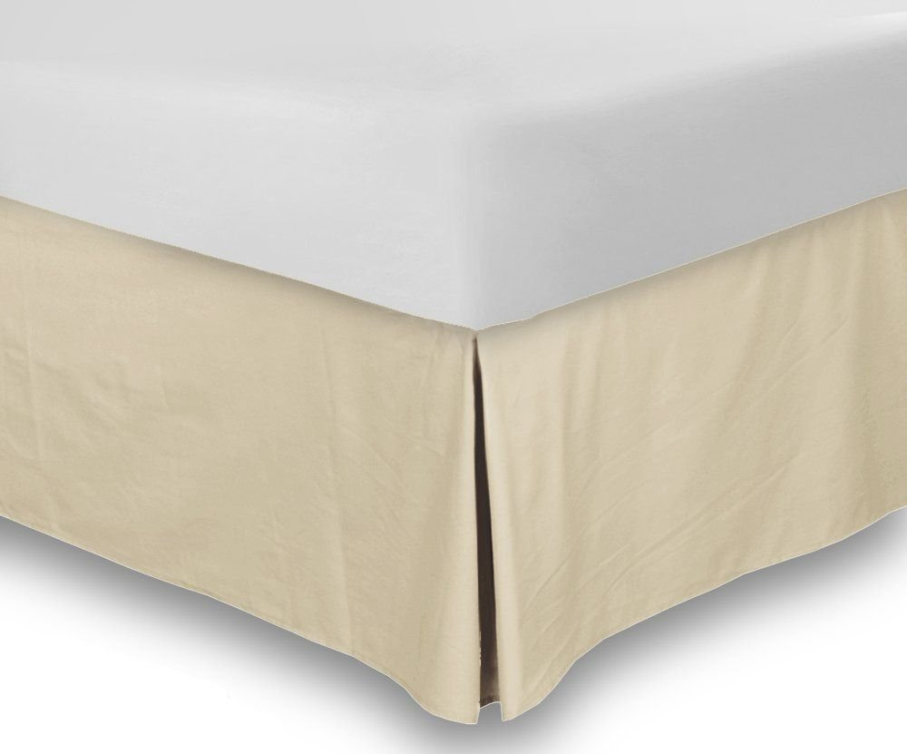 Combed Cotton Sateen King Bed-Skirt Beige