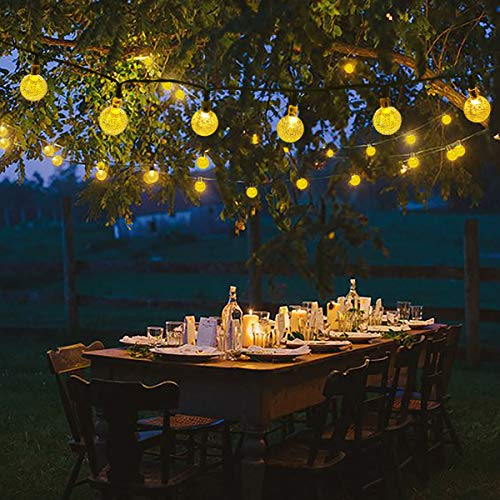 Lalapao Globe String Lights 30LED 19.7ft Crystal Ball Starry Fairy Lights Waterproof 8 Modes Solar Powered Outdoor Christmas Lights for Xmas Tree Patio Lawn Garden Home Wedding Party (Warm White) (Ball Lights Outdoor For Christmas Trees)