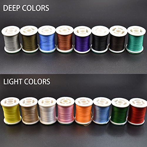 16 Colors 150 Derniers Fly Tying Thread Lightly Waxed Multi Filament Yarn Fly Tying Materials (16 Spools Total (8 Light+8 Deep))