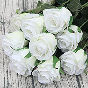 jiumengya 20pcs Artificial Rose Flowers Single Stem Roses Red/White/Pink Color Rose Flowers (white) 97