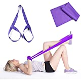 1pcs Adjustable Yoga Mat Strap Carrying Sling Durable Cotton + 1pcs Resistance Loop bands & Long Fitness Stretch Band Straps Home Gym Workout For Legs Arms Pull Up Strength Training Physical Therapy