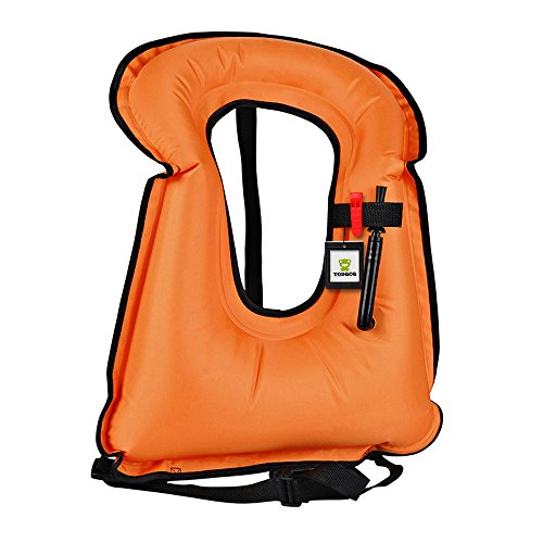TOBQCQ Snorkel Vest Adult Inflatable Life Vest Free Diving Swimming with Life Whitle Valve Spring Collars