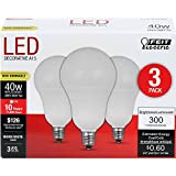 Feit Electric A1540C/10KLED/3 40W Equivalent Frost Non-Dimmable Candelabra Base LED Light Bulb (3 Pack), Warm White