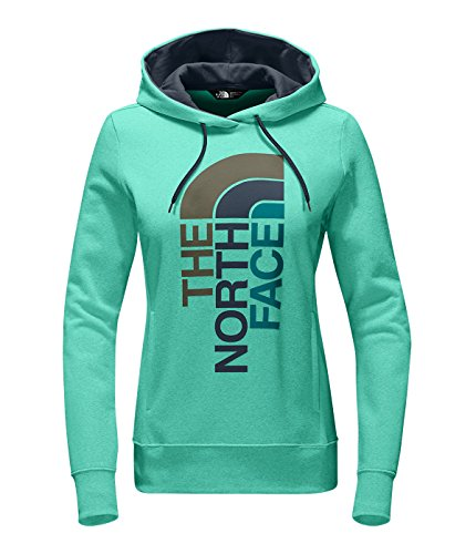 The North Face Women's Trivert Logo Pullover Hoodie Sweatshirt Bermuda Green Heather/Ink Blue Multi, Small (Blue Ink Multi)