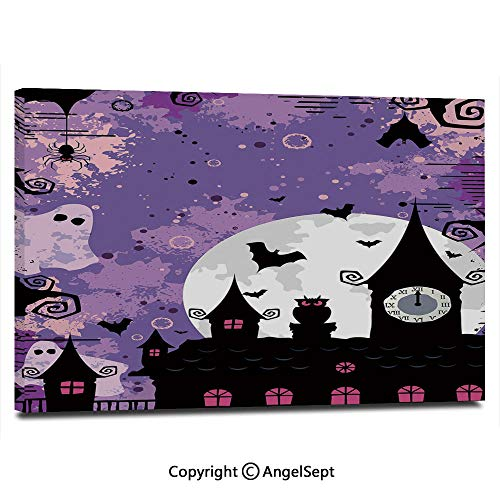 Canvas Prints Modern Art Framed Wall Mural Halloween Midnight Image with Bleak Background Ghosts Towers and Bats Decorative Wall Decorations for Living Room Bedroom Dining Room Bathroom Office,Purpl