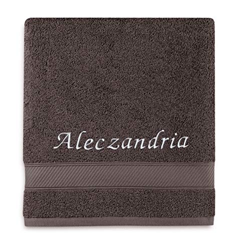 Liberty21 Monogrammed Personalized Bath Towel. Custom Embroidered Towel. (Gray)