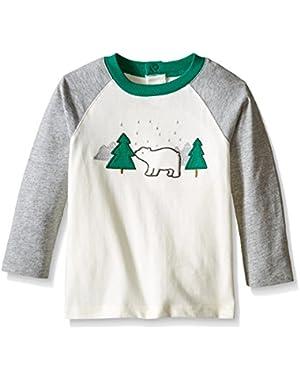 Baby-Girls' Ivory Raglan Bear Graphic Tee