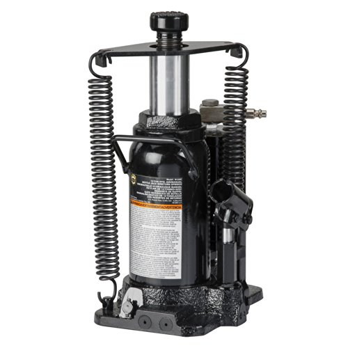 Omega 18126C Black Hydraulic Bottle Jack with Return Springs - 12 Ton Capacity