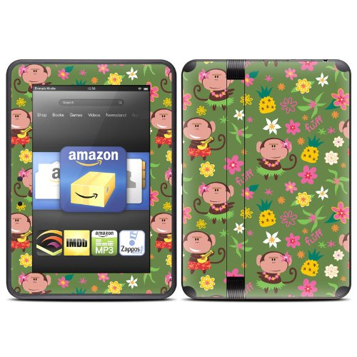 Hula Monkeys Design Protective Decal Skin Sticker (Matte Satin Coating) for Amazon Kindle Fire HD 7 inch (released Fall 2012) eBook Reader
