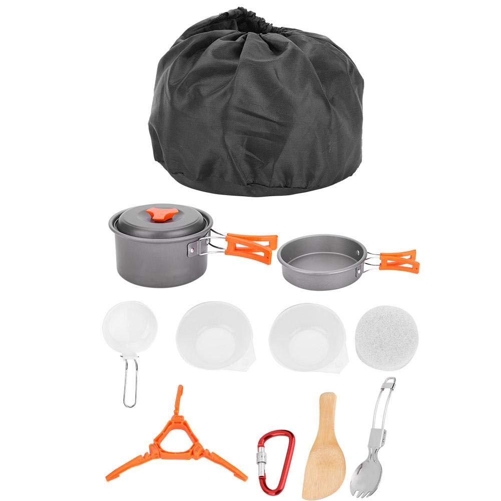 Dilwe キャンプ 調理器具セット 10点 ピクニック 調理器具セット キャンプ ポット パン 収納バッグ付き アウトドア バックパッキング ピクニック Orange  B07MMX2KWY