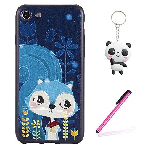 Coque iPhone 8 3D Écureuils bleus Premium Gel TPU Souple Silicone Protection Housse Arrière Étui Pour Apple iPhone 8 + Deux cadeau