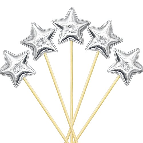 Star Cake Birthday (20Pcs Cupcake Toppers Muffin Decoration Star Cupcake Toppers Silver Fun Cake Topper Picks Mini Birthday Cake Decor Shiny Color Sticks for Baby Boys Girls Kids Birthday Party and Wedding Supplies)