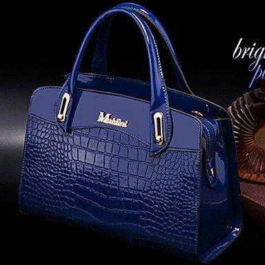 Las mujeres PU Casual Office & Carrera conjuntos de Bolsa,azul Black