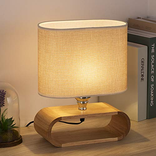 HAITRAL Bedside Table Lamp - Small Wooden Nightstand Table Lamp with Oval Base and Fabric Lamp Shade Elegant Desk Lamps for Bedrooms, Living Room - 12 Inches (HT-TH66-32) ()