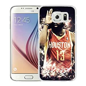 Hot Sale And Popular Samsung Galaxy S6 Case Designed With Houston Rockets James Harden 4 White Samsung S6 Phone Case