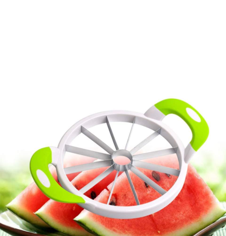 ZJDU Multifunctional Fruit Divider,Watermelon Slicer Large Stainless Steel Fruit Cantaloup Melon Slicer Cutter Peeler Corer Server for Home,32.2x25cm by ZJDU