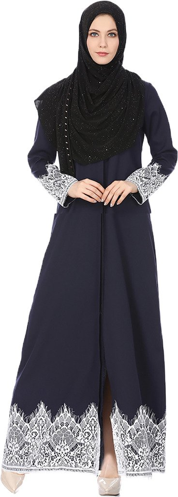 Ababalaya Women's Modest Muslim Islamic Long Sleeve Button Down Lace Long Abaya Dress FJN01