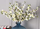 Skyseen 5PCS Artificial Apple Flower Fake Apple Blossom Home Party Office Store Decorations,White