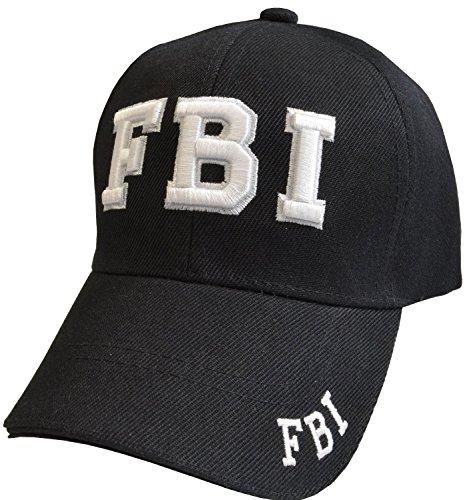 R&M FBI Embroidered Baseball Caps, White or Black (Black)