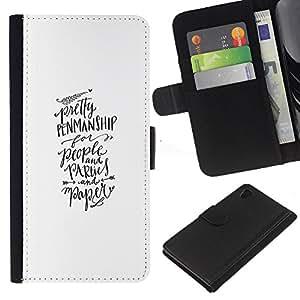 A-type (Calligraphy Hand Written Text) Colorida Impresión Funda Cuero Monedero Caja Bolsa Cubierta Caja Piel Card Slots Para Sony Xperia Z4v / Sony Xperia Z4 / E6508