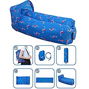 k-SHION 2018 Upgrade Inflatable Waterproof Sunshade Compact Lightweight Portable Air Lazy Sleeping Bag Sofa/Bed/Boat (Blue-Flamingos)