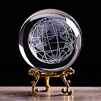 3D Globe Crystal Ball with Stand Earth Model Ball for Kids K9 Crystal Sphere Home Decoration Birthday (60MM Gold Base)