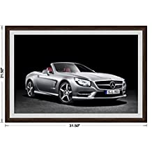 "Mercedes-Benz SL (2012) Framed Car Art Poster Print Silver Front Side Studio View in Dark Walnut Frame, 1"" Gray Simulated Mat 20""x30"""