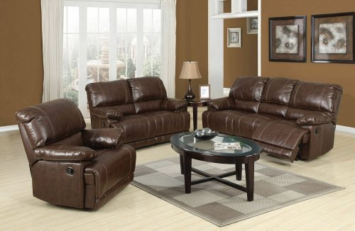 2 pc Daishiro collection chestnut bonded leather match upholstered sofa and love seat set with recliner ends price